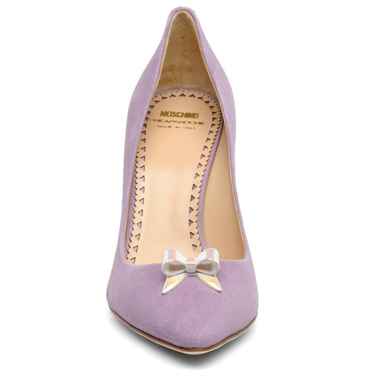 lilac suede shoes with gold bow