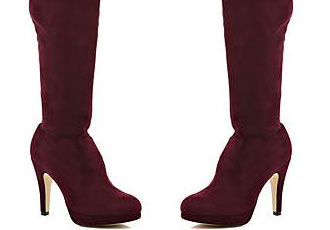 2e23d92dfaa River Island dark red stretch over-the-knee boots