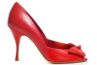 red bow peep toes