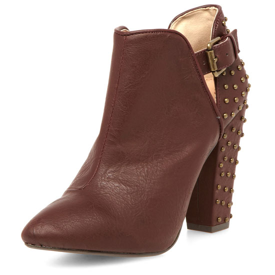 brown shoe boots with studded heel