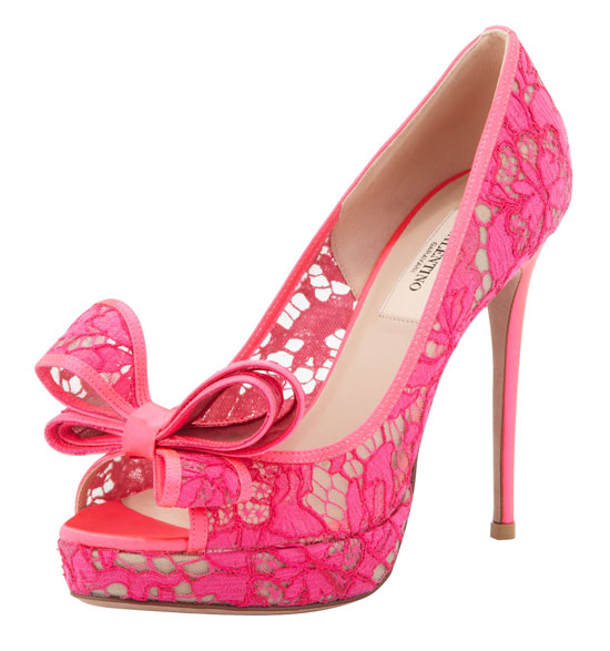 Valentino pink lace bow peep toes