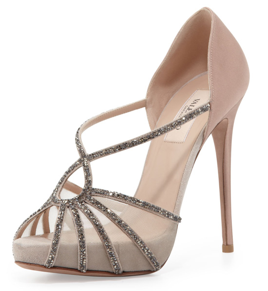 valentino Dia crystal and satin evening sandals