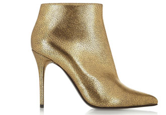 Alexander McQueen gold cracked leather ankle boots   Shoeperwoman bfcedc50e