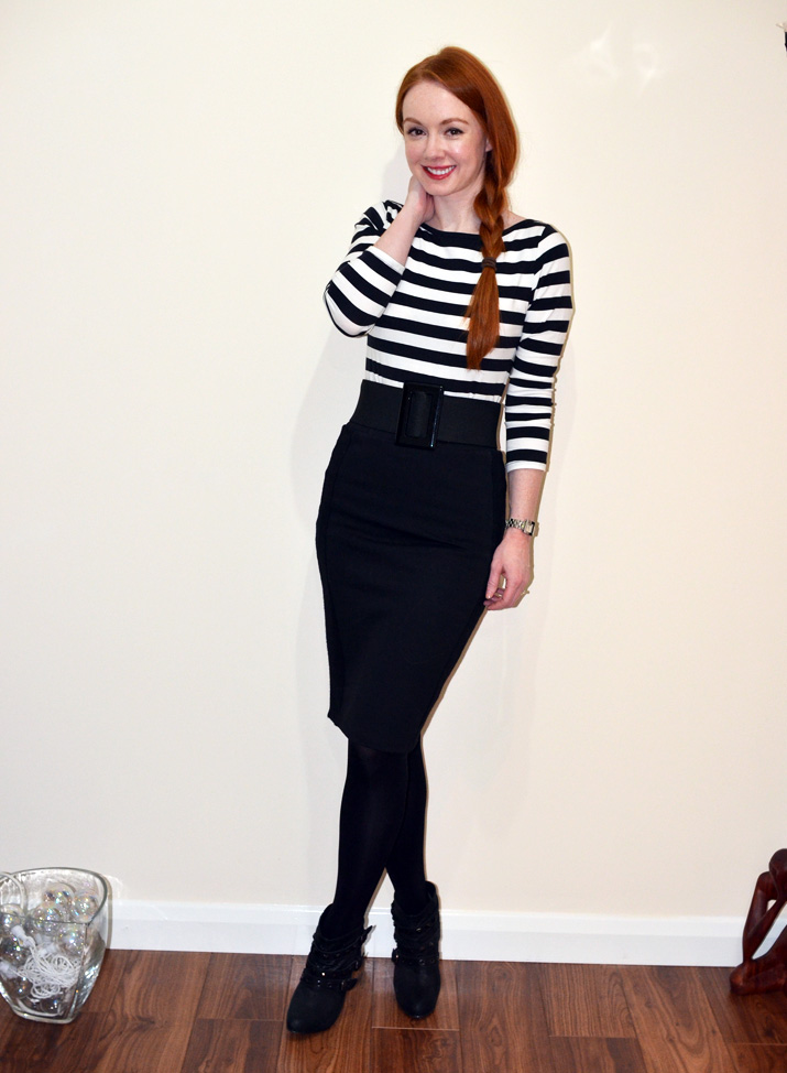 ankle boots and pencil skirt