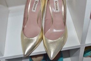 Shoe Review | Dune 'Alvino' gold pointed toe stiletto court shoes