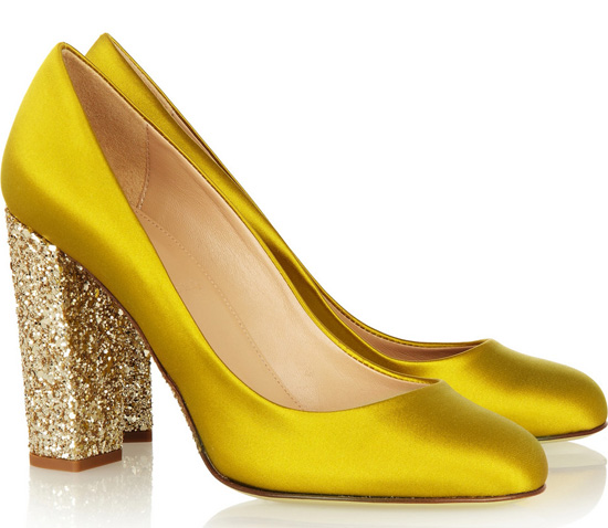 yellow satin shoes with gold glitter heels