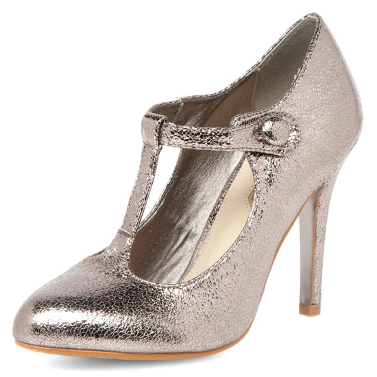 Dorothy Perkins pewter t-bar court shoes