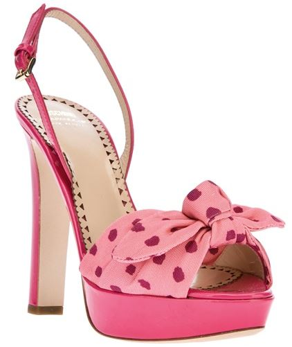 pink polka dot bow sandals