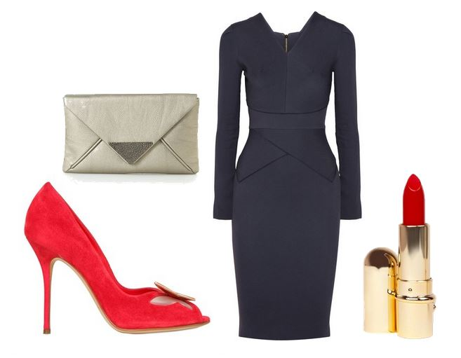 red shoes and navy dress