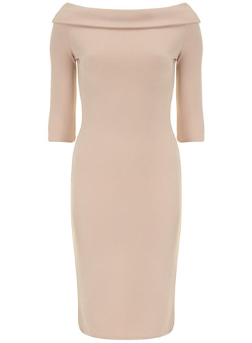 beige bardot dress