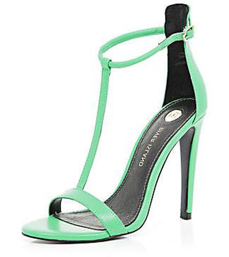 green barely there sandals