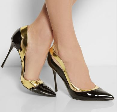 gold and black shoes