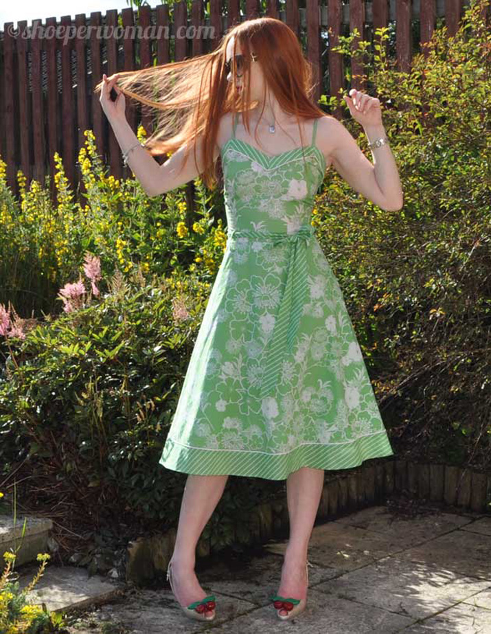 green dress and Lady Dragon cherry shoes