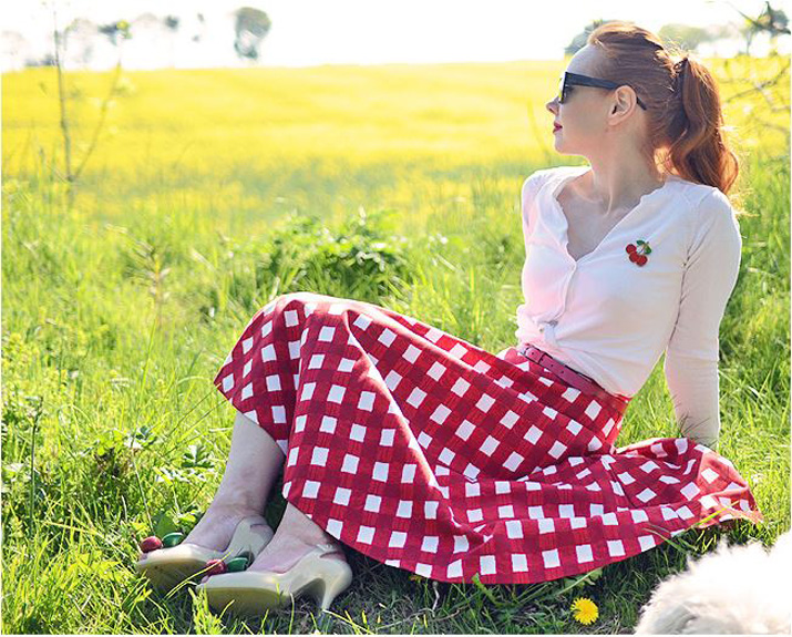 Lady Dragin Cherry shoes and gingham skirt