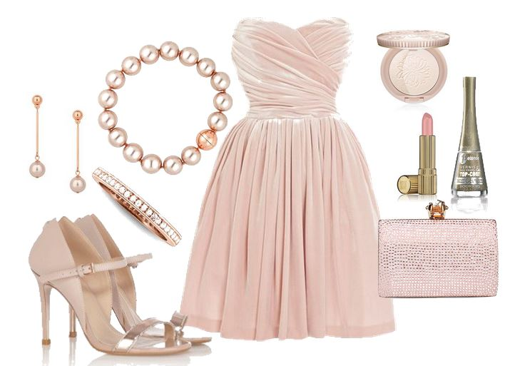 pale pink evening outfit