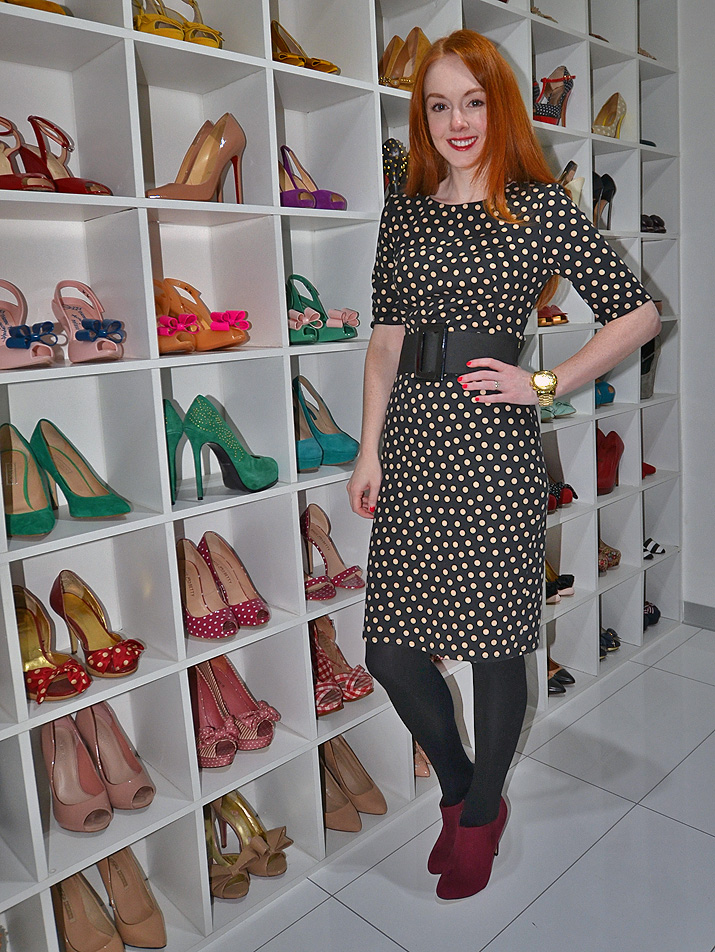 polka dot dress red shoes