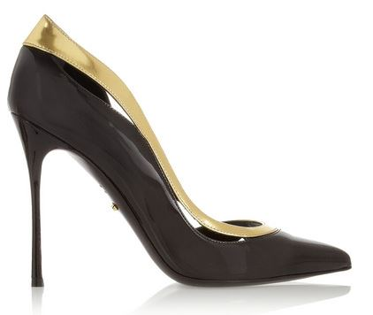 black sergio rossi pumps with gold trim