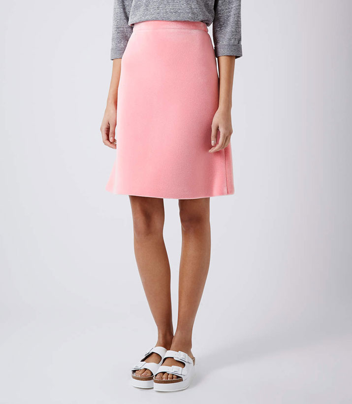 pink skirt and birkenstock shoes
