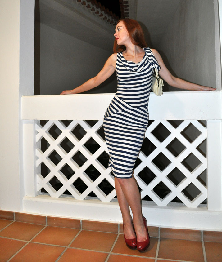 stripe dress and red shoes