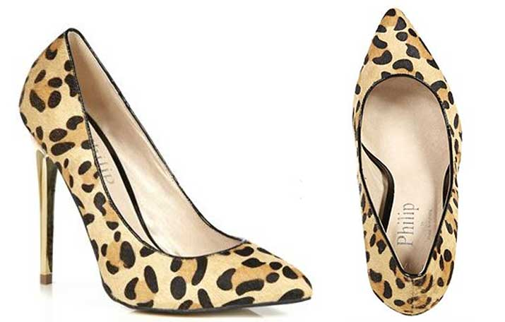 What to wear with animal print shoes | Philip Armstrong Gold Heel Animal Print Stilettos