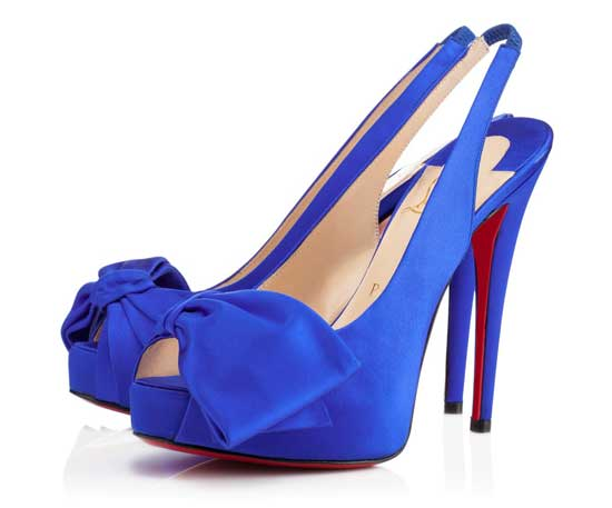 blue Christian Louboutin bow shoes