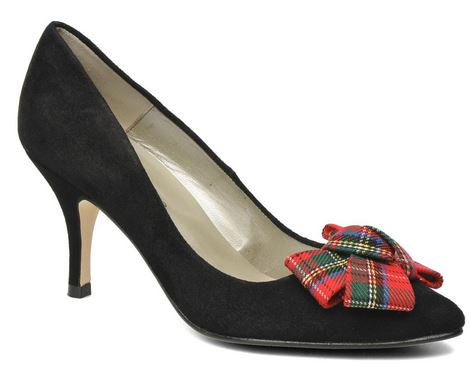 georgia rose black shoes with tartan bow