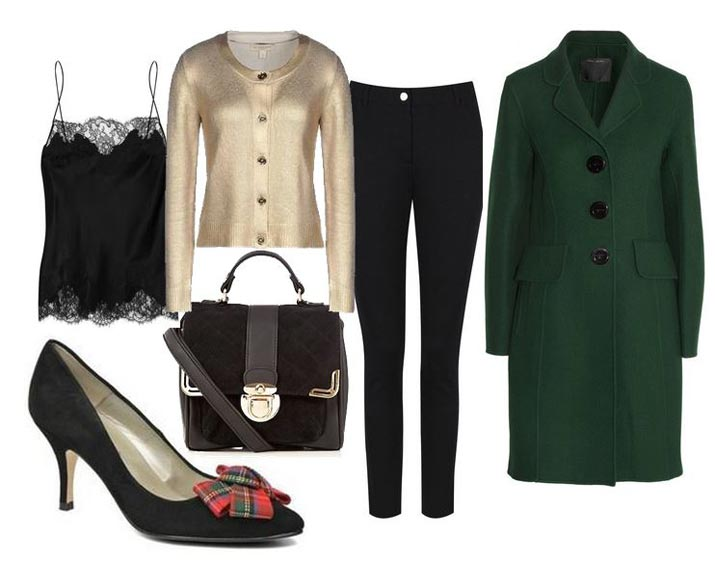 green coat and black shoes