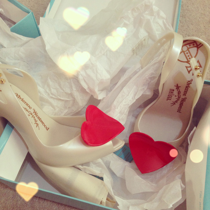 Vivienne Westwood Lady Dragon heart shoes in white and red