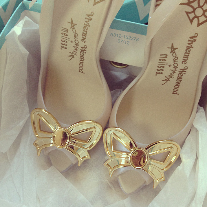 Vivienne Westwood for Melissa Lady Dragon bow shoes in gold