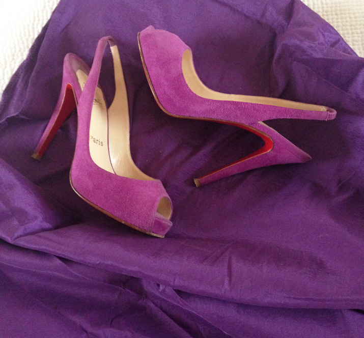 Christian Louboutin purple high heels