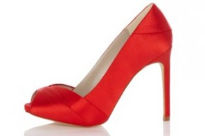 red satin peep toes