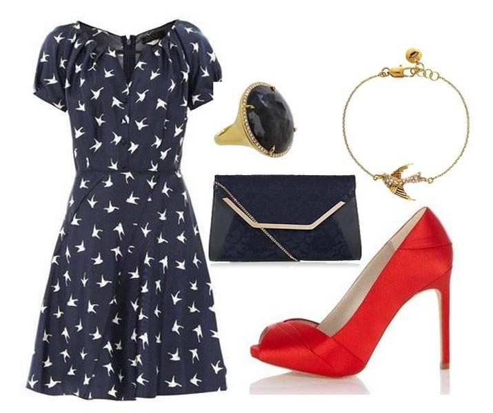 red shoes silk dress
