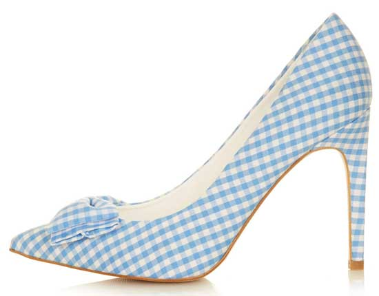 Topshop gingham bow court shoes