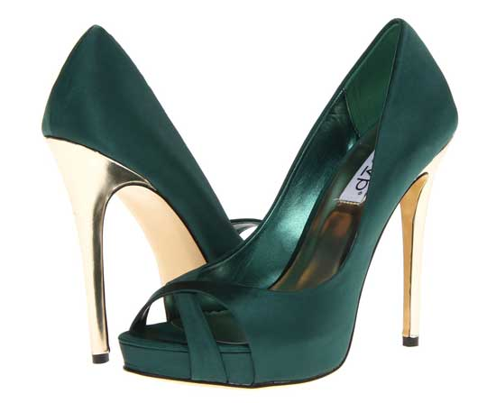 green and gold high heel shoes