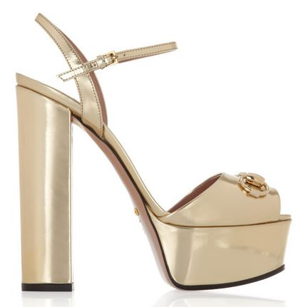 Gucci gold mirrored-leather platform sandals