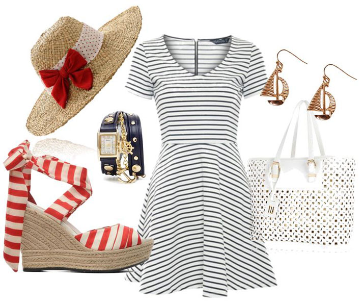 what to wear with nautical stripe wedges