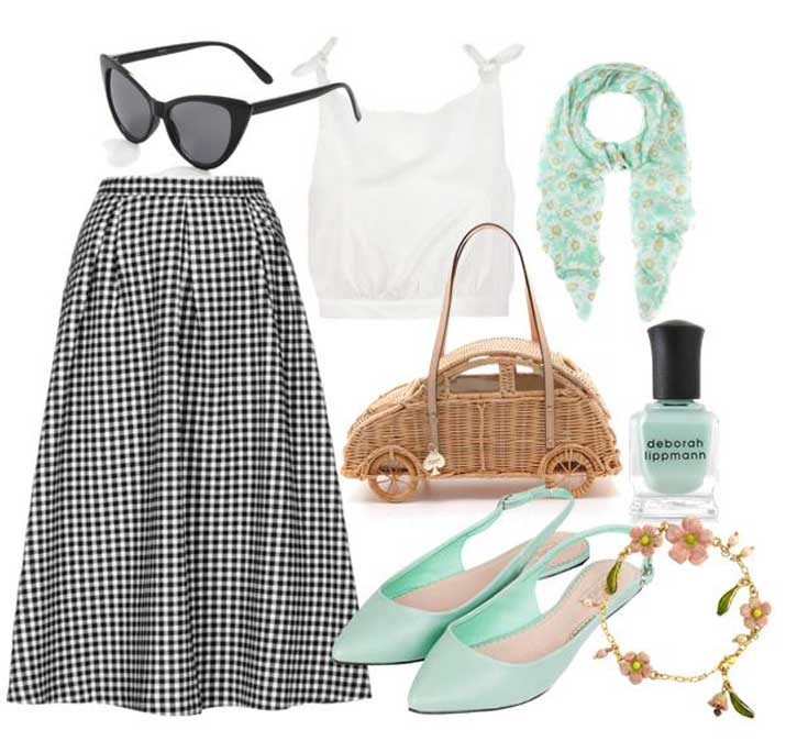 what to wear with mint slingbacks