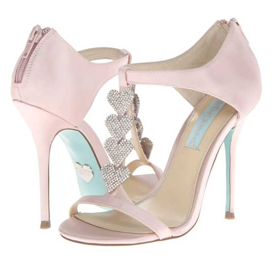 Betsey Johnson pink heart front bridal shoes