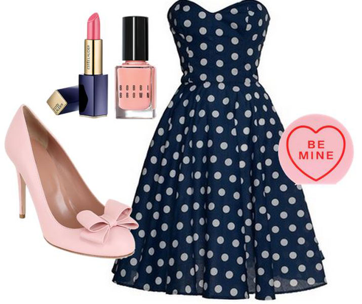polka dot dress and pink shoes