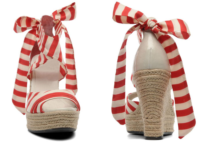 red and white stripe wedges