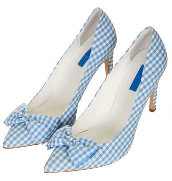Topshop blue gingham court shoes with bow