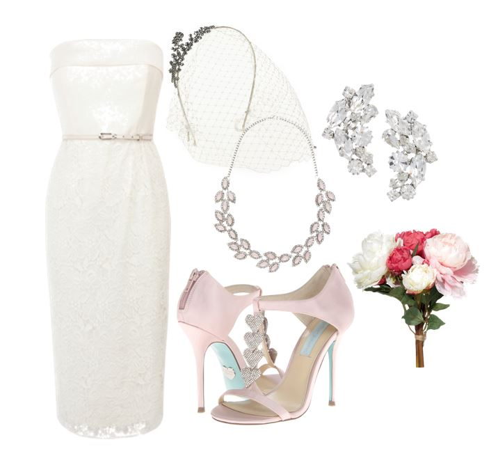 outfit featuring knee-length wedding dress and pink bridal shoes