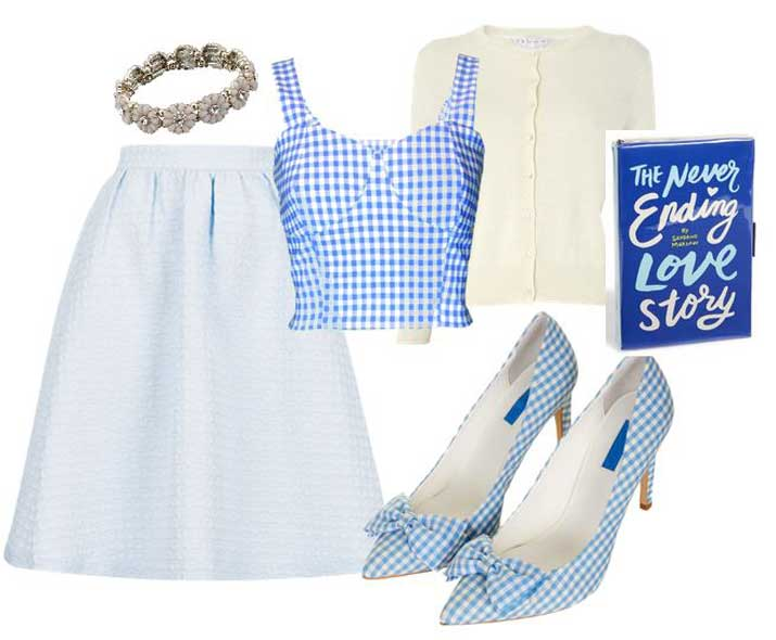 what to wear with blue gingham shoes