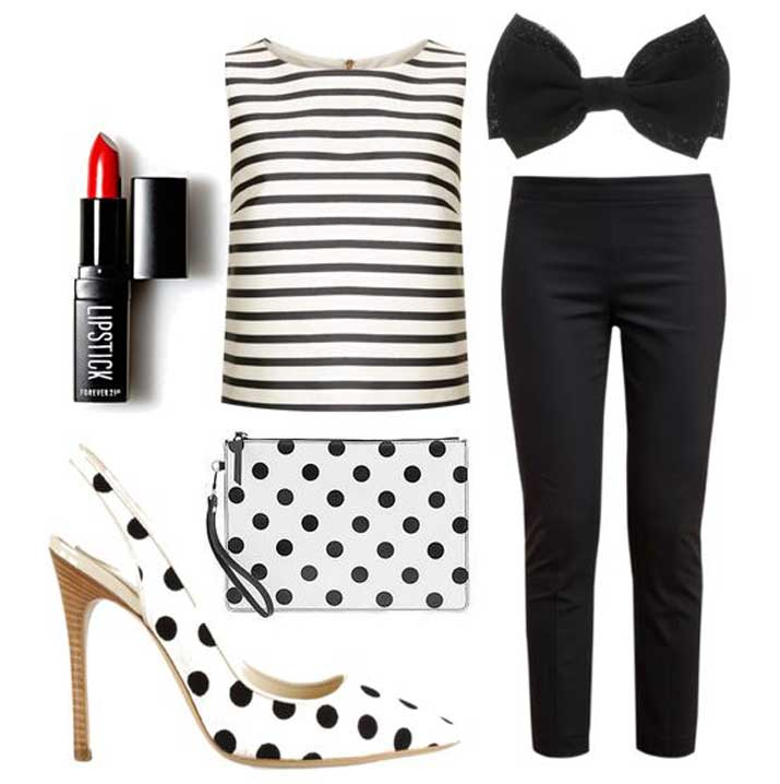 spots and stripes pattern-mixing outfit