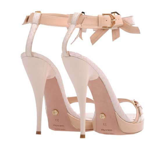 Viktor & Rolf nude and white bow sandals