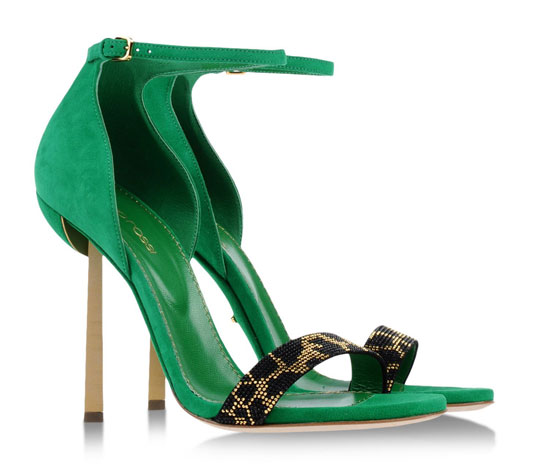 Sergio Rossi green suede sandals
