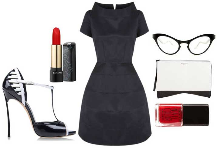 50s-inspired monochrome outfit