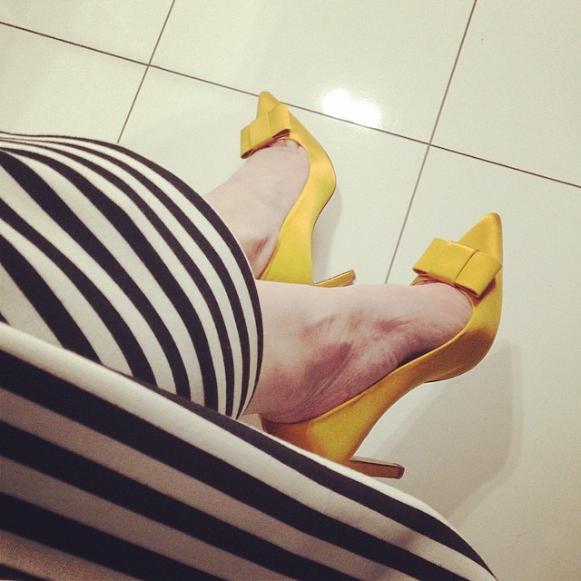 Today... #shoes #stripes #bows #yellow