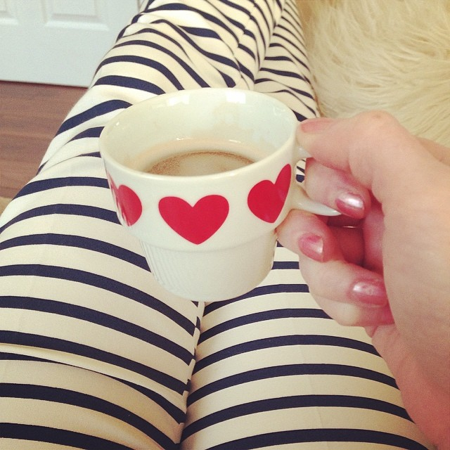 Relaxing in front of Netflix... #hearts #stripes #coffee