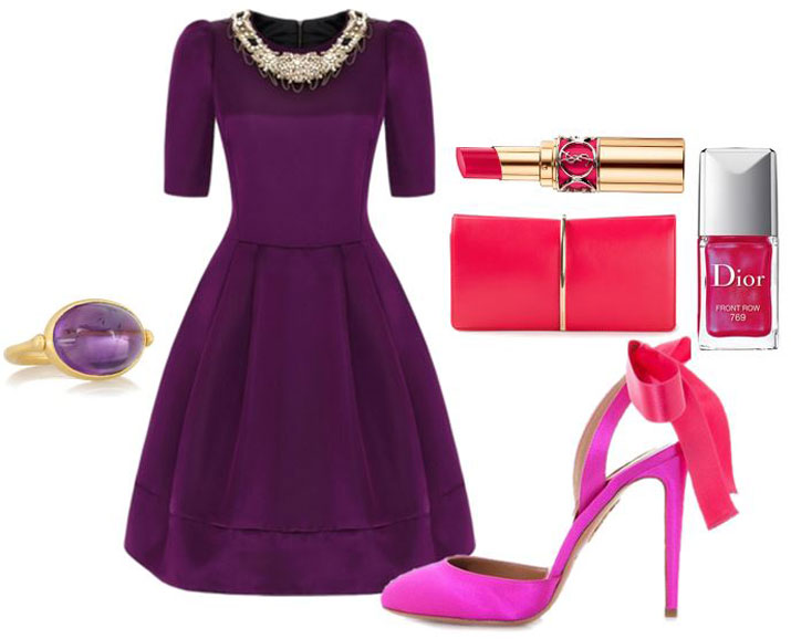 purple dress and shoes